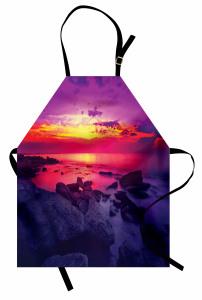 Deniz Kıyısında Gün Batımı Temalı Mutfak Önlüğü Mor