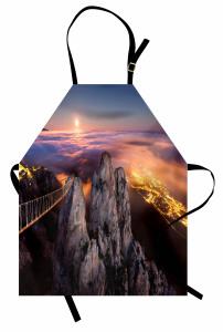 Gece ve Dolunay Manzaralı Mutfak Önlüğü Gökyüzü Bulut