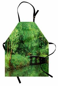 Yeşilin Huzuru Temalı Mutfak Önlüğü Ağaç Desenli Doğa