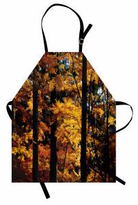 Sararmış Yaprak Desenli Mutfak Önlüğü Sonbahar Temalı