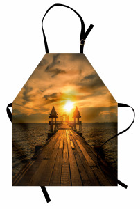 Köprüde Gün Doğumu Temalı Mutfak Önlüğü Deniz Gökyüzü