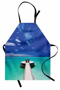 Issız Adada Aşk Temalı Mutfak Önlüğü Deniz ve Huzur