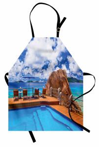Issız Adada Yaz Temalı Mutfak Önlüğü Deniz ve Gökyüzü