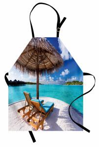 Issız Adada Tatil Temalı Mutfak Önlüğü Deniz ve Bulut