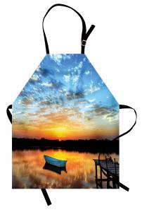 Göldeki Yalnız Tekne Temalı Mutfak Önlüğü Gün Batımı