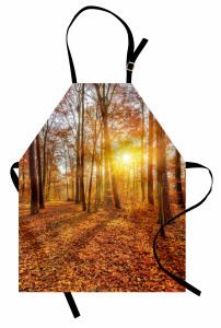 Sonbaharda Gün Batımı Temalı Mutfak Önlüğü Yapraklar