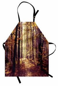 Puslu Sonbahar Temalı Mutfak Önlüğü Ağaç ve Yaprak
