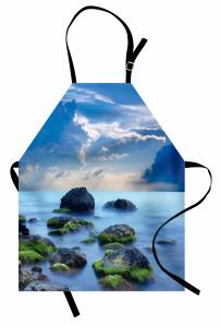 Okyanus ve Kayalar Manzaralı Mutfak Önlüğü Mavi Deniz