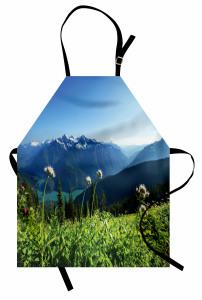 Göl Manzaralı Mutfak Önlüğü Karlı Dağ ve Orman Temalı