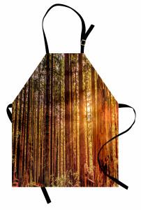 Ormanda Yürüyüş Temalı Mutfak Önlüğü Ağaçlı Yeşil