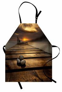 İskelede Gün Doğumu Temalı Mutfak Önlüğü Gökyüzü