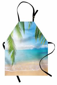 Tropikal Plaj Temalı Mutfak Önlüğü Kumsal ve Deniz