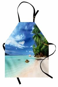 Tropikal Ada Temalı Mutfak Önlüğü Kumsal Deniz Palmiye