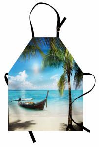 Issız Adada Tekne Temalı Mutfak Önlüğü Turkuaz Deniz
