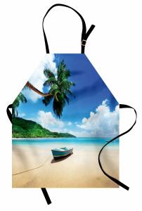 Kumsaldaki Tekne Temalı Mutfak Önlüğü Turkuaz Deniz