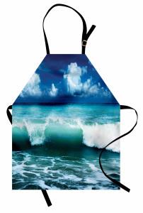 Okyanus Dalgaları Temalı Mutfak Önlüğü Turkuaz Gökyüzü