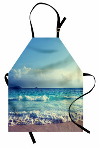 Kumsala Vuran Dalgalar Temalı Mutfak Önlüğü Turkuaz