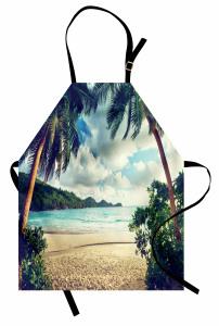 Egzotik Kumsal ve Bulut Temalı Mutfak Önlüğü Deniz