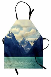 Karlı Dağlar Manzaralı Mutfak Önlüğü Doğada Huzur