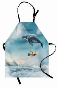 Gökyüzünde Uçan Balina Temalı Mutfak Önlüğü Rüya