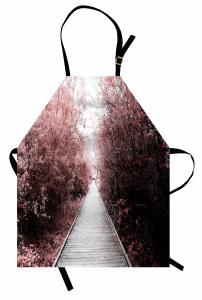 Ağaçlı Parkta Yürüyüş Temalı Mutfak Önlüğü Doğa Huzur