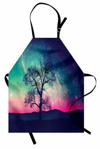 Uzay Temalı Mutfak Önlüğü Ağaç ve Rengarenk Gökyüzü