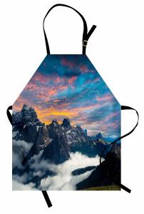 Dağ ve Gökyüzü Manzaralı Mutfak Önlüğü Bulutlar