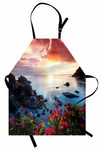 Egzotik Adada Sabah Temalı Mutfak Önlüğü Çiçekli