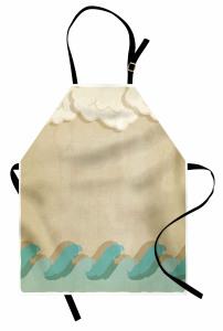 Dalga ve Bulut Desenli Mutfak Önlüğü Deniz Temalı