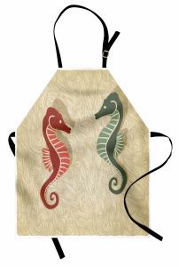 Kırmızı ve Yeşil Denizatı Desenli Mutfak Önlüğü Deniz