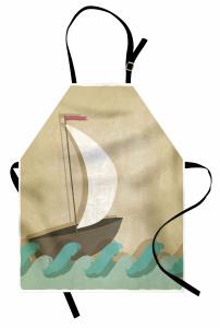 Dalgalar ve Yelkenli Çizimli Mutfak Önlüğü Kahverengi