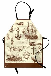 Denizcilik Temalı Mutfak Önlüğü Elle Çizim Yelkenli