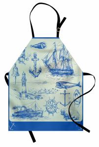 Denizcilik Temalı Mutfak Önlüğü Yelkenli Çapa Dümen