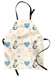 Mavi Saçlı Deniz Kızı Desenli Mutfak Önlüğü Balık