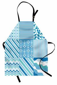 Mavi Kumaş Desenli Mutfak Önlüğü Çizgili Marin Temalı