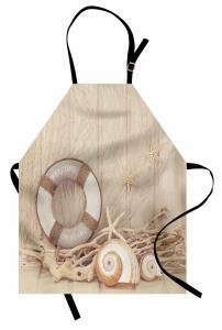Deniz Kabuğu Desenli Mutfak Önlüğü Can Simidi Sepya