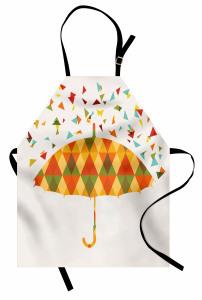 Renkli Üçgen Yağmuru Desenli Mutfak Önlüğü Şemsiyeli