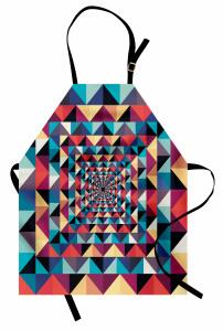 Geometrik Retro Desenli Mutfak Önlüğü Rengarenk