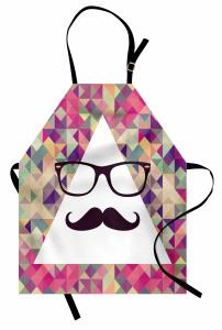 Bıyıklı ve Gözlüklü Üçgen Desenli Mutfak Önlüğü