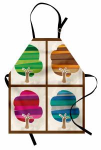 İlkbahar Yaz Sonbahar Kış Temalı Mutfak Önlüğü Ağaç