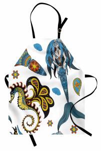Mavi Deniz Kızı Desenli Mutfak Önlüğü Çocuklar İçin