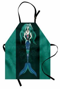 Deniz Kızı Desenli Mutfak Önlüğü Mavi Yeşil Siyah Fon