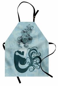 Uyuyan Deniz Kızı Desenli Mutfak Önlüğü Masal Temalı