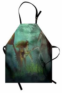 Deniz Kızı ve Denizatı Desenli Mutfak Önlüğü Yeşil