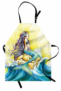 Dalga ve Deniz Kızı Desenli Mutfak Önlüğü Mavi Sarı