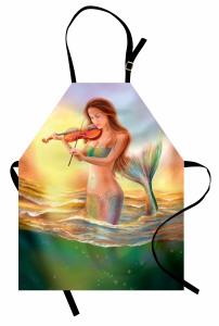 Keman Çalan Deniz Kızı Desenli Mutfak Önlüğü Fantastik