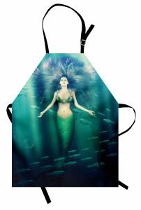 Mor Saçlı Deniz Kızı Desenli Mutfak Önlüğü Balıklı