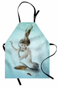 Sarı Saçlı Deniz Kızı Baskılı Mutfak Önlüğü Mavi