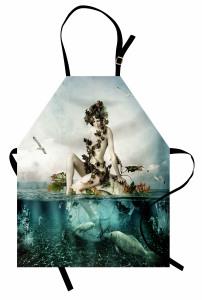 Deniz Kızı ve Kuş Desenli Mutfak Önlüğü Balıklar