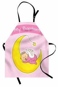 Ayın Üzerinde Uyuyan Bebek Mutfak Önlüğü Vaftiz Temalı